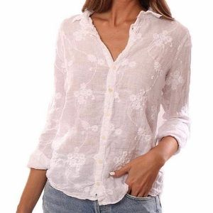 CP SHADES Romy Embroidered Linen Blouse White SM